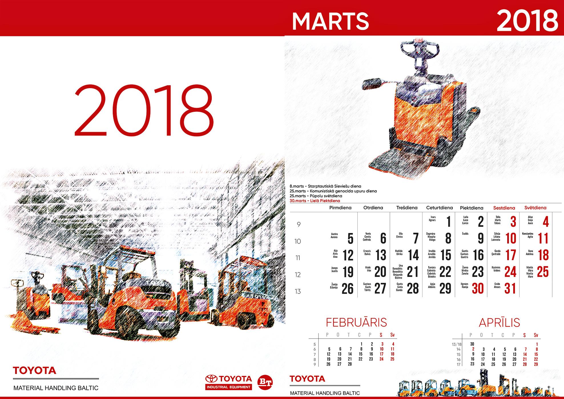 Sienas kalendārs Toyota 2018