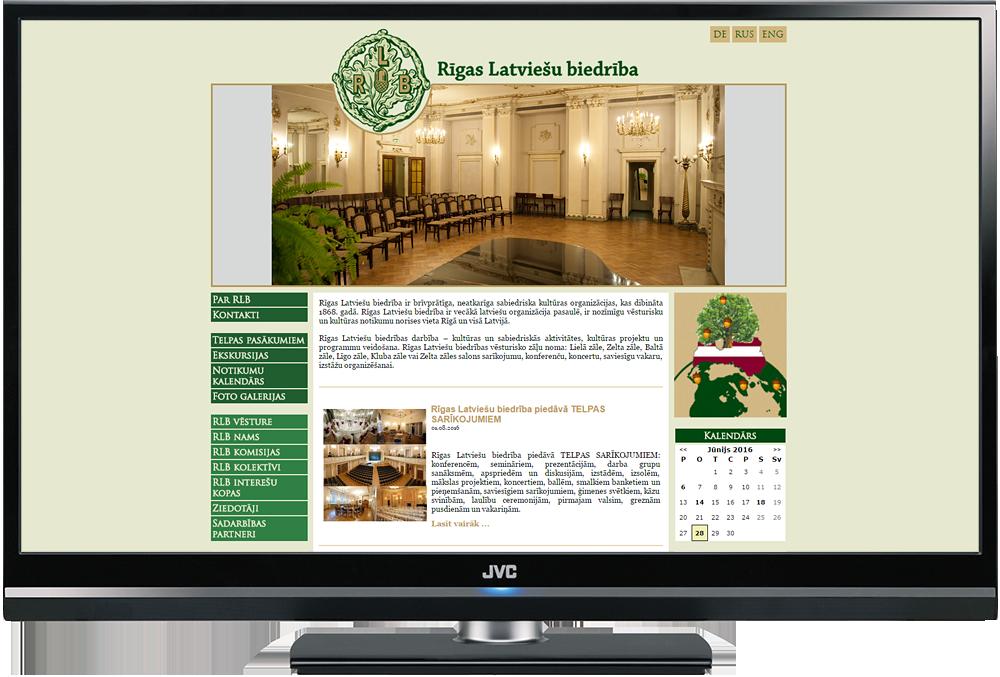 Mājas lapas dizains Rīgas Latviešu Biedrība