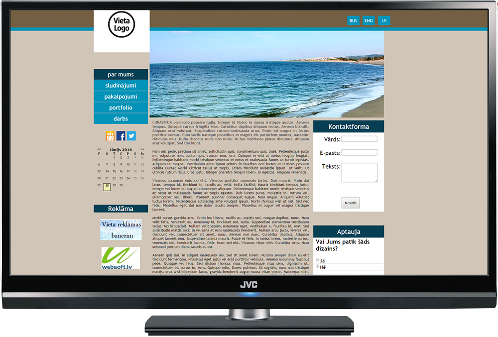 Mājas lapas šablona dizains